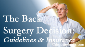 Most Chiropractic Clinic realizes that back pain sufferers may choose their back pain treatment option based on insurance coverage. If insurance pays for back surgery, will you choose that?