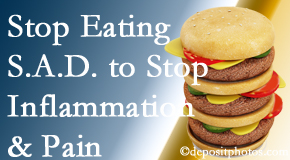 Murfreesboro chiropractic patients do well to avoid the S.A.D. diet to decrease inflammation and pain.