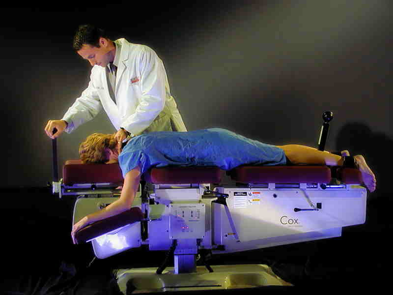 doctor performing the Cox Technic on a patient