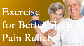 Most Chiropractic Clinic incorporates the suggestion to exercise into its treatment plans for chronic back pain sufferers as it improves sleep and pain relief.