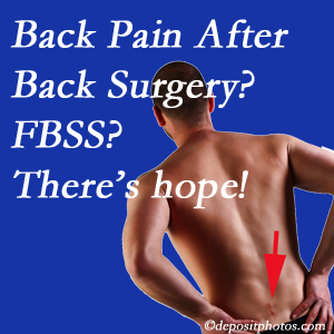 Murfreesboro chiropractic care has a treatment plan for relieving post-back surgery continued pain (FBSS or failed back surgery syndrome).