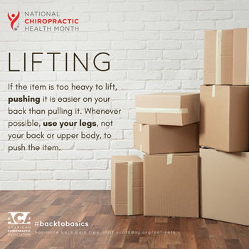 Most Chiropractic Clinic advises lifting with your legs.