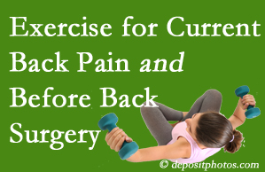Murfreesboro exercise helps patients with non-specific back pain and pre-back surgery patients though it's not often prescribed as much as opioids.