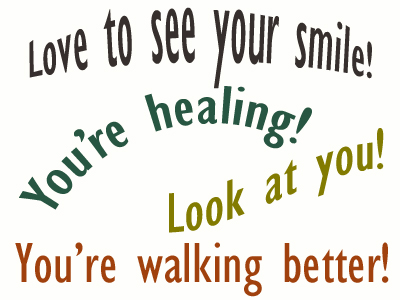 Use positive words to support your Murfreesboro loved one as he/she gets chiropractic care for relief.
