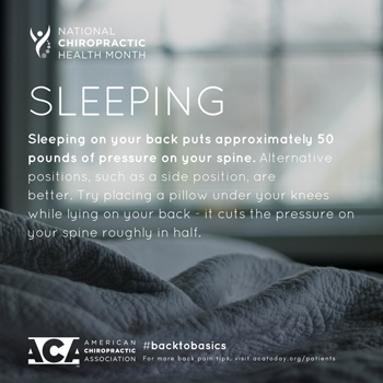 Most Chiropractic Clinic recommends putting a pillow under your knees when sleeping on your back.